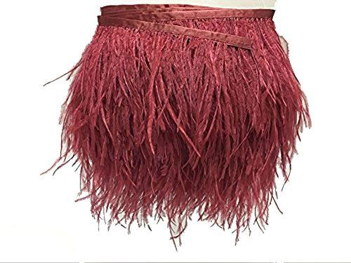Kolight 5er Pack natürliche gefärbte Straußenfedern, 10-13 cm, Fransen für DIY Kleid, Nähen, Basteln, Kostüme, Dekoration burgunderrot