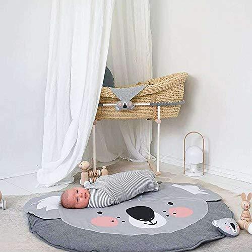 Jycra, tappeto rotondo con animale, in cotone, per gattonare, per camera da letto, soggiorno, camera dei bambini, Cotone, Koala., Diameter 90CM
