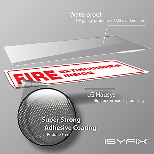 Fire Extinguisher Inside Signs Stickers – 4 Pack 8x3 Inch – Premium Self-Adhesive Vinyl, Laminated for Ultimate UV, Weather, Scratch, Water and Fade Resistance, Indoor and Outdoor