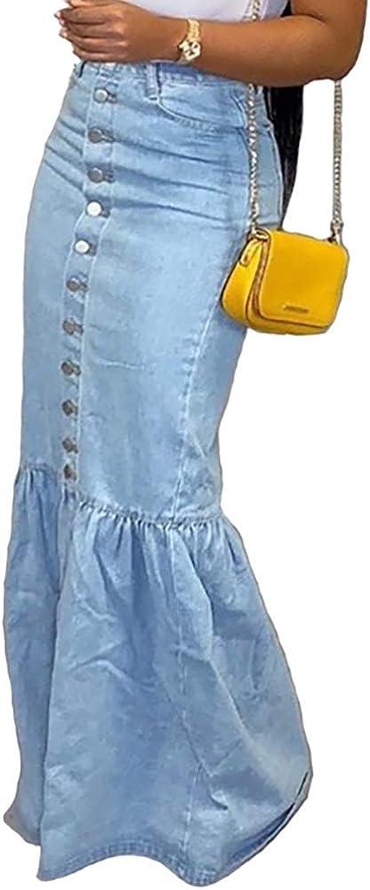 LAJIOJIO Women's Casual Distressed Ripped Denim Jean Midi Bodycon Dresses Plus Size