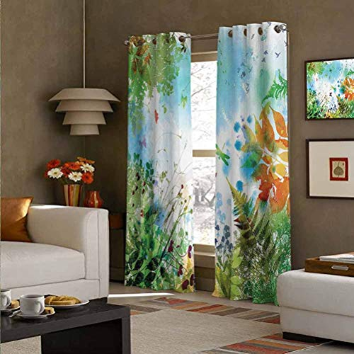 Country Decor Polyester Light Filtering Curtain for Bedroom Ferns and Petals Flourishing Nature Fantasy Complex Mixed Digital Watercolors Design Image Multi 52' W x 84' L