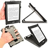 iGadgitz Black PU Leather Case Cover for Amazon Kindle Paperwhite 2015 2014 2013 2012 with Sleep/Wake Function & Integrated Hand Strap