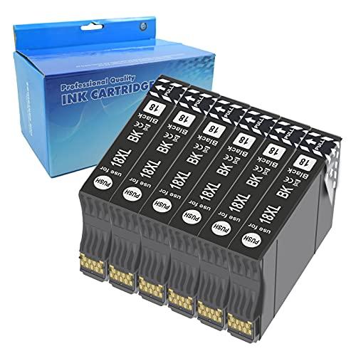 Teng 6negro 18XL Cartuchos de Tinta Compatible con Epson 18 18XL para Epson Expression Home XP-205 XP-212 XP-215 XP-225 XP-302 XP-305 XP-312 XP-315 XP-322 XP-325 XP-402 XP-405