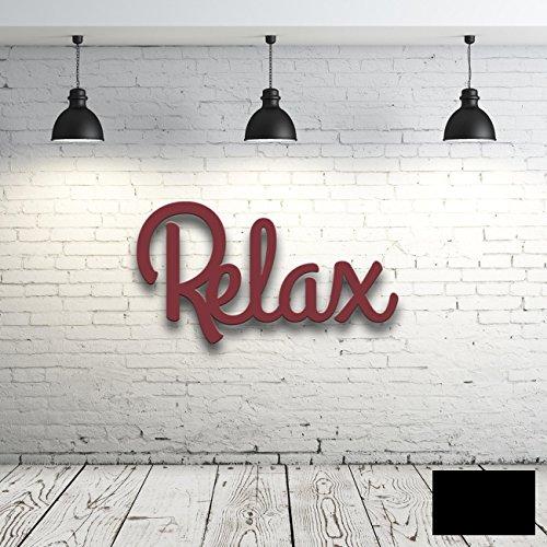 ilka parey wandtattoo-welt Wanddeko Dekoration Holz Holzschriftzug Schriftzug Relax H021 - ausgewählte Farbe: *schwarz* ausgewählte Größe: *L - 40cm breit x 22cm hoch*