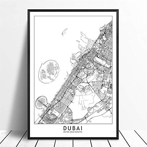 Dubai Black White Custom World Stadtkarte Poster Drucke Ölgemälde Nordic Style-Wand-Kunst-Bilder Wohnkultur Leinwand Gemälde Wanddekoration (Size (Inch) : 30X45CM)