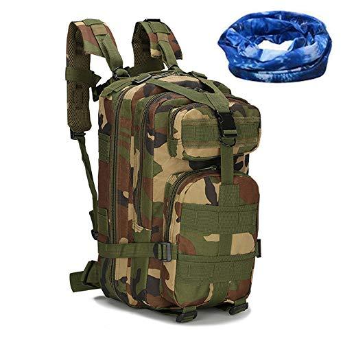 Haoyk - Zaino militare tattico, per sport all'aperto, escursionismo, trekking, campeggio, viaggi, alpinismo, motivo mimetico, 25 l, Woodland