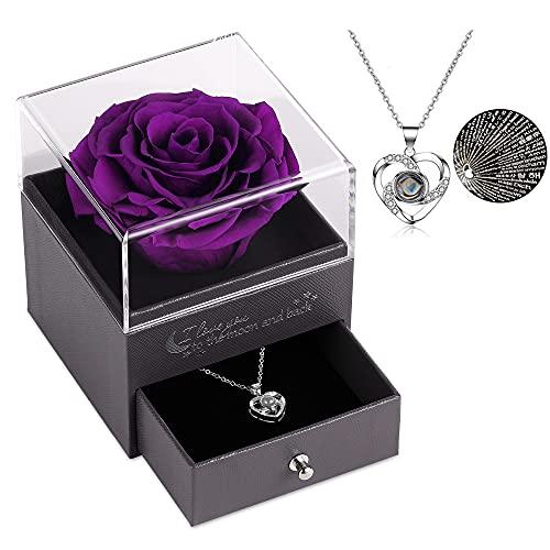 Geschenke für sie konservierte echte Rose Schublade Ewige handgemachte konservierte Rose mit Halskette 100 Sprachen Geschenk, verzauberte echte Rose Blume zum Valentinstag Muttertag (Lila)