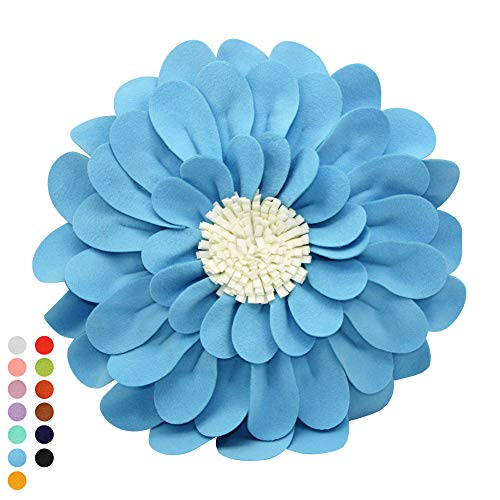 Decorative Flower Pillows – 3D Happy Daisy Flower Throw Pillow - Design Patented – Couch & Bed Flower-Shaped Pillow – Soft & Cozy (14' Flower, 13' Pillow With Insert, Light Blue/Ivory)