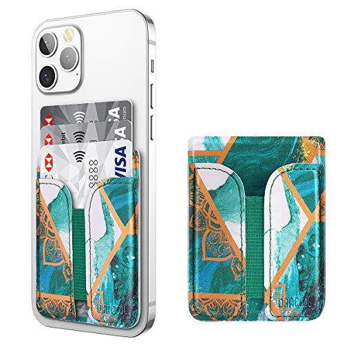 Dracool Handy Kartenhalter Kartenfach Kartenetui Kreditkartenetui zum Aufkleben Leder Kartenhalterung für Kreditkarten Bargeld Universal Smart Wallet für iPhone Samsung Android - Grün Marmor