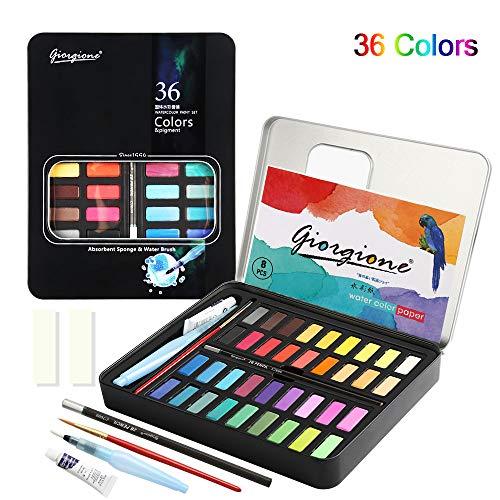 Set de Pintura de Acuarelas, 36 colores Caja de Papel de Acuarela portátil 8 * Papel - 2 Pinceles de Agua-1 * Bolígrafo de Gancho para Principiantes y Profesionales Artistas, Niños o Aficionados