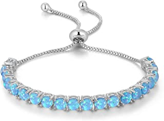 Adjustable Silver Plated Opal Tennis Bracelet for Women - Fashion Jewelry Gift