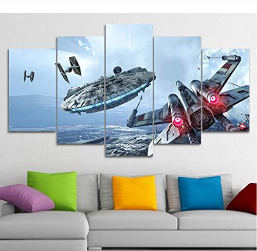 HTBYTXZ Leinwand Malerei Wandkunst Millennium Falcon Bilder 5 Star Wars Filmplakate HD Wohnzimmer Dekoration 20x35 /45 /55cm Kein Rahmen