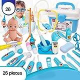 Gobbuy Children's Doctor Case Toy 26 Piezas/Set Juegos Juegos de rol Kit Doctor Juegos Estetoscopio electrónico Diente Espejo