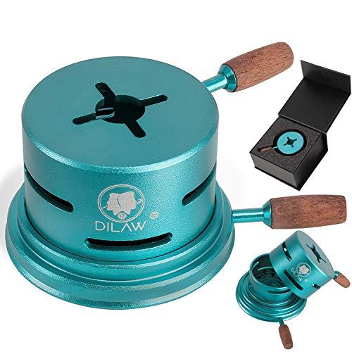 DILAW® Shisha UNO Smokbox | mit nur 1 Kohle | Kamin-aufsatz Aluminium Alu | Passt auf beinahe jeden Kopf | spart Kohlen | Länger Rauchen | für Tabakkopf Kohle Aufsatz | (Türkis)