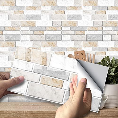 VIVILINEN 27PCS Pegatinas Autoadhesivas para Azulejos Pegatinas de Pared de PVC Impermeables Diseño de Azulejos de Cemento Decoración Adhesiva 20x10cm para Cocina Baño (Gris 1)
