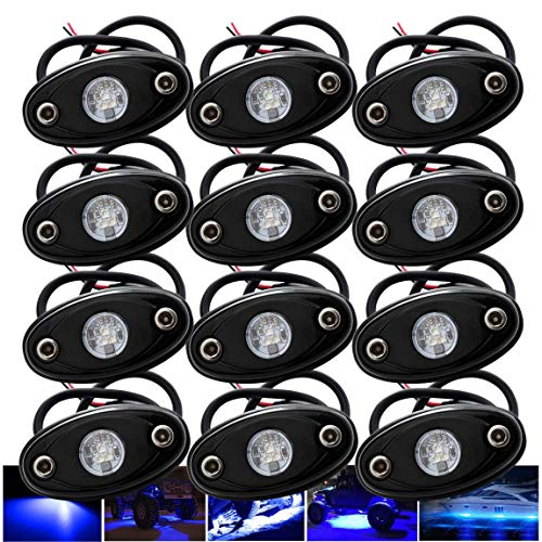 LEDMIRCY LED Rock Lights Blue 12PCS Kit for Off Road Truck RZR Auto Car Boat ATV SUV Waterproof High Power Neon Trail Rig Lights Interior Exterior Shockproof(12PCS Blue)