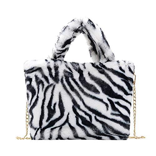 oshhni Winter Mode umhängetasche, Damen Leoparden Druck kettengurt Beuteltasche plüsch Handtasche Messenger Tasche weiche warme Faux Fell Cross Body Tasche - Zebra Streifen