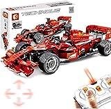 Bck Rojo del bloque hueco del coche de carreras, Formula cumpleaños Modelo regalo kits del bloque hueco del coche 2.4G FRR-F1 RC multicanal de 585Pcs Niños Carreras Deportes maquetas de coches for que