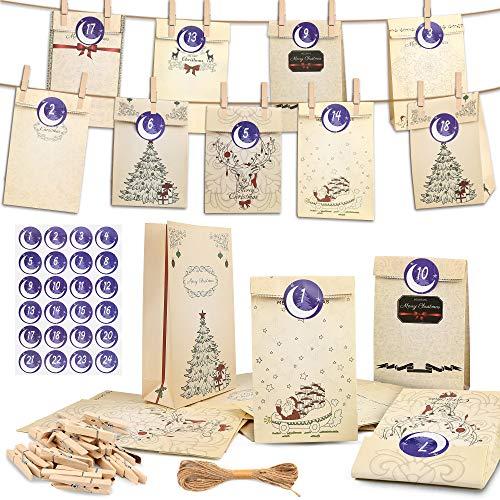 Bolsas de Regalo, 24PCS Bolsas Kraft Bolsas de regalo navidad, Bolsas de Papel Kraft con 1-24 Pegatinas para Fiestas de Cumpleaños, Ceremonias de Graduación, Bodas, Aniversarios, Navidad y más