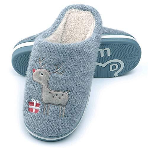 WINZYU Zapatillas Casa Mujer Hombre Invierno Cálido Pantuflas Suave Felpa Cómodo Reno Regalo Zapatos, Azul 40/41 EU