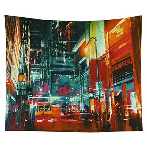 Tapiz de paisaje de calle nórdico edificio calle de la ciudad vista nocturna tela colgante decoración de dormitorio decoración de fondo de tela