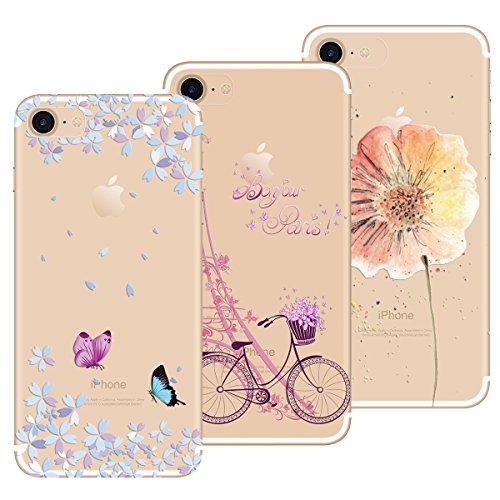 Yokata Cover per iPhone 7 / iPhone 8, Custodia Silicone Gel TPU Trasparente con Disegni Cover Morbida Ultra Sottile Slim Antiurto Protettiva Case Cover [3 Pack] - Torre Bicicletta + Farfalla + Fiore