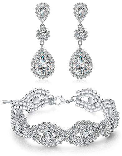 Paxuan Womens Silver-Tone Wedding Bridal Earrings Bracelet Jewelry Sets Rhinestone Crystal Bracelets Earrings Jewelry Sets (Bracelet and Earrings Set)