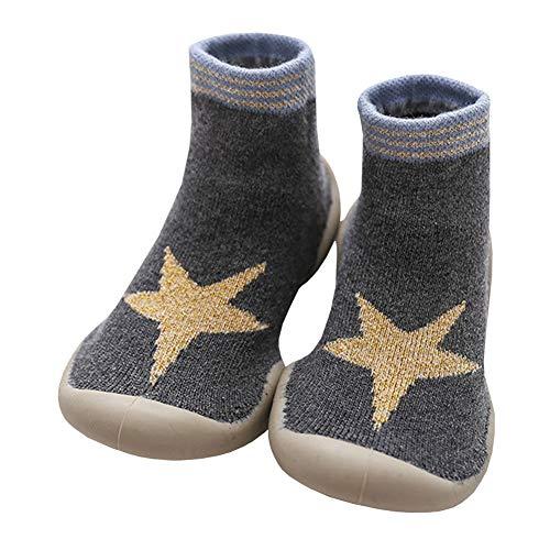 LPATTERN Calcetines Estampados Primeros Pasos con Suela de Goma Antideslizantes para Bebés Niños Zapatillas de Algodón Invierno, Gris con estrella, 22/23 Longitud interior:13.5cm