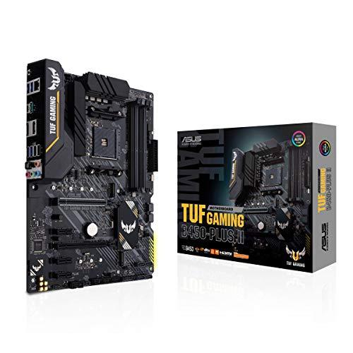ASUS TUF GAMING B450-PLUS II Scheda madre Gaming AMD B450 (AM4) ATX con doppio M.2, microfono con eliminazione del rumore AI, HDMI, DP, USB 3.2 Gen 2 Type-A e Type-C, RGB Aura Sync
