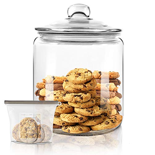Airtight Glass Jar,Cookie Candy Penny Jar with Leak Proof Rubber Gasket Lid,1 Gallon Clear Round Big Household Multifunctional Storage Container with Silicone Reusable Food Bag for Cookies, Candies