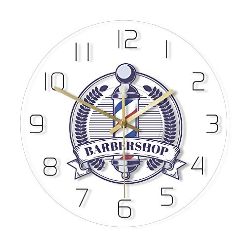 Barbershop Vintage Badge Impreso Reloj de Pared Barber's Pole Logo Moderno Acrílico Decoración de Pared Reloj Hombre Peluquería Signo de Pared Reloj-Sin_LED