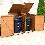 Leisure Season TRSL6741-D Large Horizontal Trash and Recycling Storage-Sheds, Medium Brown