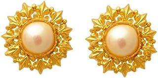 Lagu Bandhu 22k (916) Yellow Gold and Pearl Stud Earrings for Women