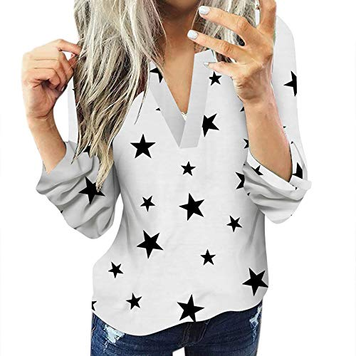 Moneycom Camisa de manga larga para mujer, informal, de algodón, con diseño de estrella