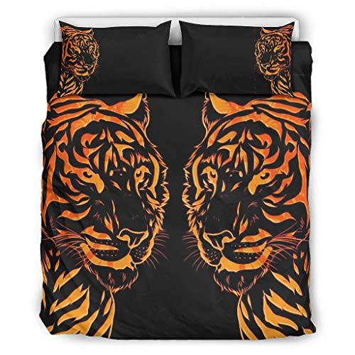 WellWellWell Tiger Lion Animal Bettgarnitur Set-3 3D-Druck Bettwäsche Waschbar Bettdeckenbezug mit Reißverschluss Enthalten Doppelbett 1 Bettbezug & 2 Kissenbezug White 229x229cm