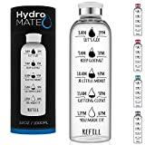 HydroMATE 32 Oz Motivational Glass Water Bottle with Time Marker | Leak Proof | BPA-Free | Track Intake & Drink More Water Daily | Safe For Travel To-Go & Hot Liquids | 1 Liter (White)