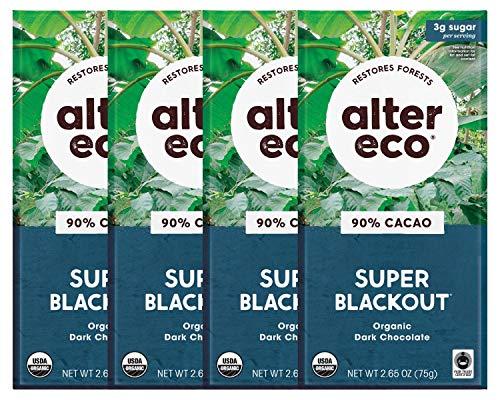 Alter Eco | Dark Chocolate Bars | Pure Dark Cocoa, Fair Trade, Organic, Non-GMO, Gluten Free (4-Pack Super Blackout)