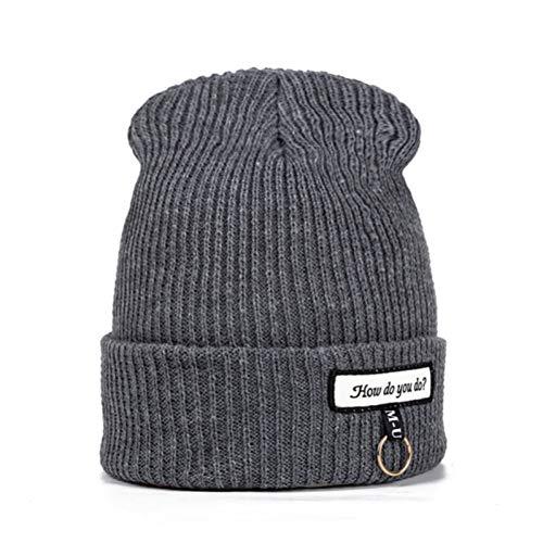 SAONIAN Sombrero de Invierno Nuevos Sombreros de Invierno Casuales para Mujeres ¿Cómo se Marca la Moda sólida cálidaFemenina Grils dePunto