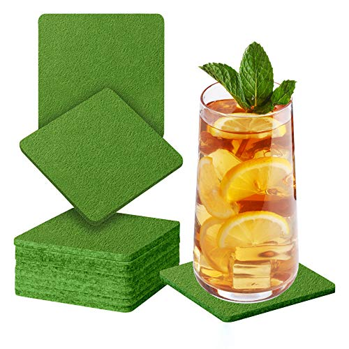 Sidorenko Sottobicchieri in feltro quadrati per bicchieri - Set di 10 - Sottobicchieri di vetro di design in verde oliva per bevande, tazze, bar, vetro - Sottobicchieri da tavolo
