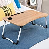 MULTIFUNCTIONAL WOODEN LAPTOP DESK: 100% natural bamboo, environment friendly and sturdy; used for surfing the Internet, eating food, coloring, reading, doing homework on the bed, sofa, recliner, floor, car, etc. ADJUSTABLE DESIGN: Adjustable legs' l...
