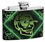 4oz Green Skull and Crossbones Flask, Free Personalization
