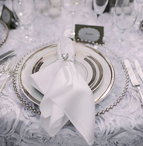 Decor Trader GLASS CHARGER PLATES BEADED SILVER XMAS EVENTS WEDDINGS 33CM DIAMETER