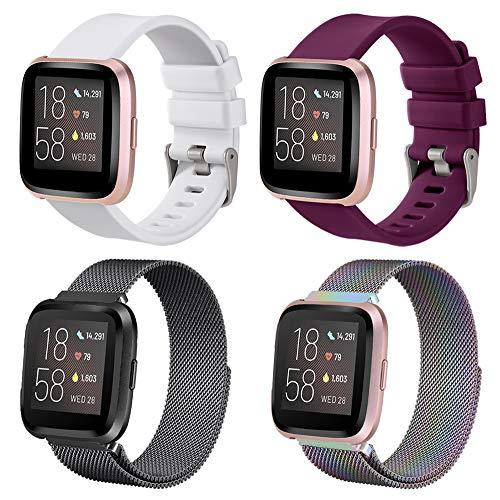 SINPY Correa para Fitbit Versa,4 Piezas Mixto Metal Acero Correas/Silicona Deporte Pulsera Repuesto Accesorios Compatible con Fitbit Versa 2/Fitbit Versa Lite Smartwatch
