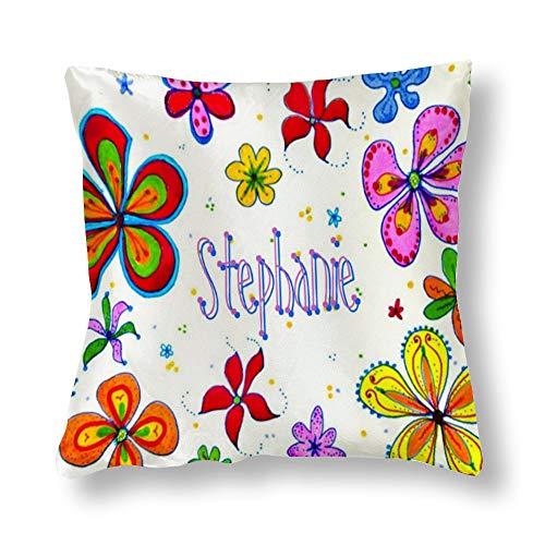 perfecone Funda de almohada de algodón para decoración del hogar, diseño de flores grandes, para sofá y coche, 1 paquete de 17,7 x 17,7 pulgadas