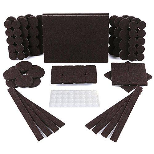 Protectores para patas de mesa. Juego de 150: 118 fieltros adhesivos y 32 lagrimas silicona adhesivas. Protector adhesivo para patas de sillas, fieltro para sillas de 5mm de grosor y más durabilidad ✅