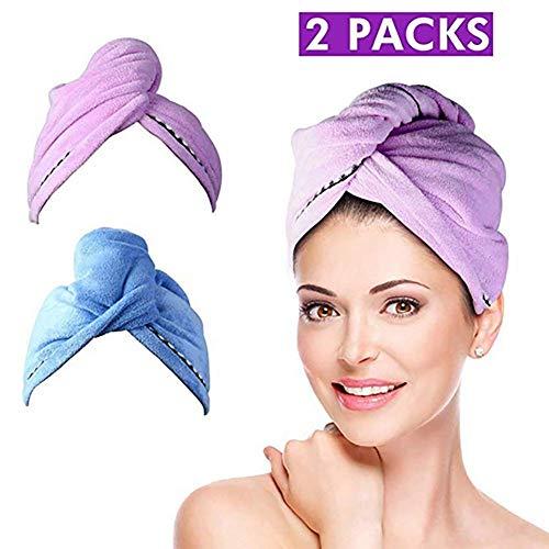 Beito 2 Pack HairTowel Bain Tête De Douche Serviette Enveloppe Turban En Microfibre Séchage Avec Boutons Chapeau De Bain Sèche-Cheveux Magique Envelop