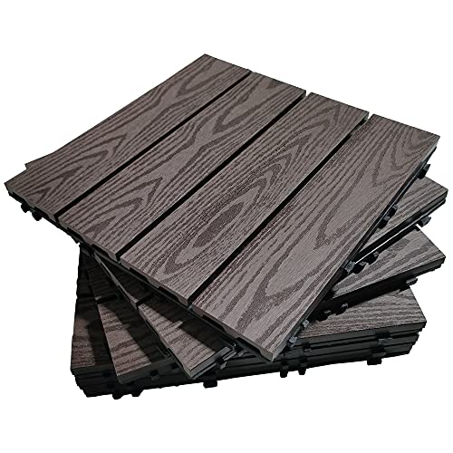 "Annurssy 6 Pack Interlocking Deck Tiles 12"" x 12"" Wood Plastic Composites Decking Tiles Waterproof Corrosion Resistance for Walkway Balcony Patio Deck Indoor & Outdoor Flooring (6, Brown Wood Grain)"
