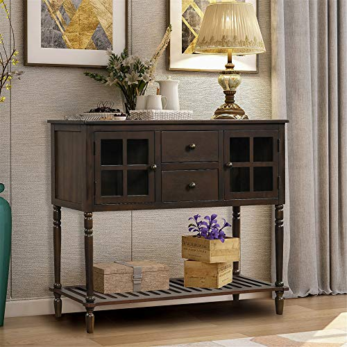 Sideboard Console Table with Bottom Shelf, Farmhouse Wood/Glass Buffet Storage Cabinet Living Room (Dark Brown)