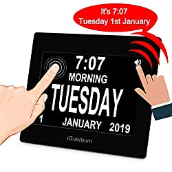 iGuerburn 8 Digital Talking Touchscreen Day Calendar Alarm Clock for Seniors Elderly Dementia Alzheimer's Memory Loss Visually Impaired Blindness (Black)