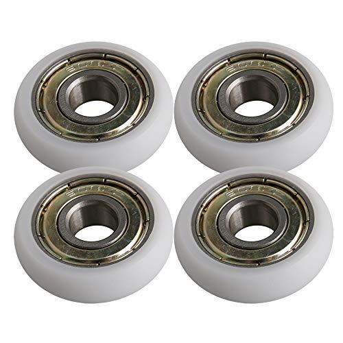 BQLZR 8 x 27,5 x 8 mm Blanc Plastique Roulement en acier à roulement à billes Guide Poulie Rouleau ronde de roue jusqu'à 83 kg Lot de 4